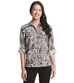 Studio Works® Petites' 3/4 Sleeve Y-Neck Utility Top