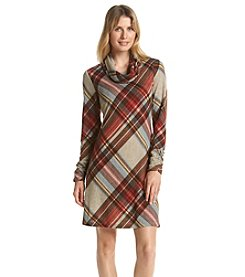 Madison Leigh® Plaid Cowl Neck Swing Dress