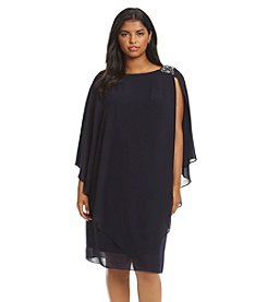 Jessica Howard® Plus Size Beaded Shoulder Caplet Dress