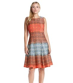 Julian Taylor Plus Size Allover Patterned Dress