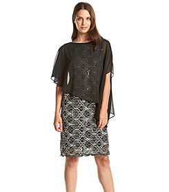 Ronni Nicole® Sheer Shawl Lace Dress