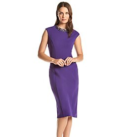 Ronni Nicole® Scuba Beaded Neckline Dress
