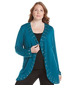 Laura Ashley® Plus Size Framed Grommet Cardigan