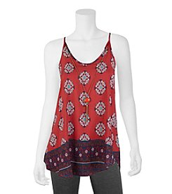 A. Byer Border Print Tank With Necklace