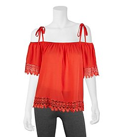 A. Byer Crochet Trim Peasant Top