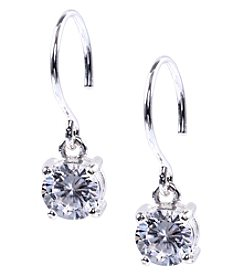 Anne Klein® Silvertone Crystal Eurowire Drop Earrings
