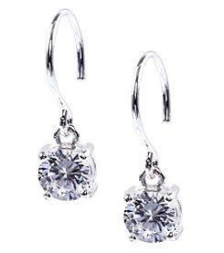 Anne Klein® Silvertone Crystal Eurowire Drop Earrings
