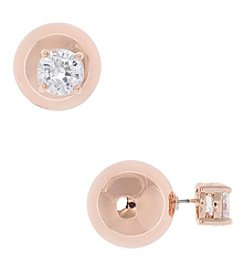 Anne Klein® Rose Goldtone And Crystal Front To Back Earrings