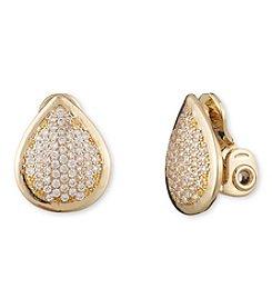 Anne Klein® Goldtone Cubic Zirconia Pear Clip Earrings