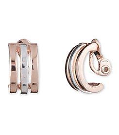 Anne Klein® Rose Goldtone Clip J Hoop Earrings