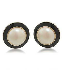 Carolee® Goldtone Optical Opposites Simulated Pearl Button Clip On Earrings