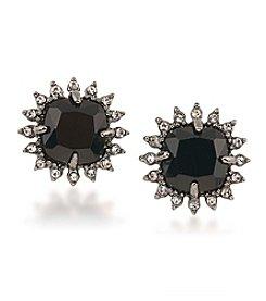 Carolee® Silvertone Gotham Button Clip On Earrings