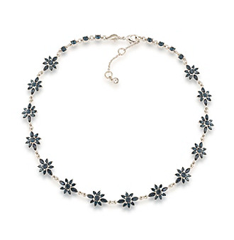 Carolee® Silvertone New York Star Blue Crystal Choker Necklace