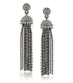 Carolee® Silvertone Gotham Tassel Drop Pierced Earrings