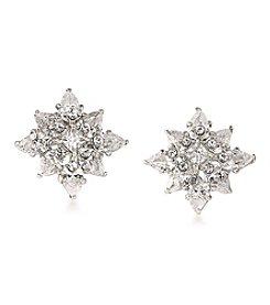 Carolee® Silvertone New York Star Button Pierced Earrings