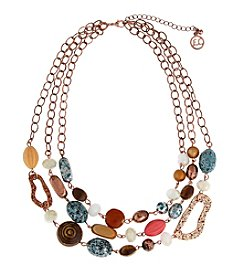 Erica Lyons® Copper Tone Sunrise In Sedona Triple Row Necklace