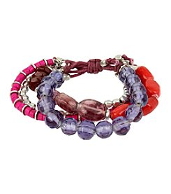 Kenneth Cole® Silvertone Mixed Berry Faceted Bead Multi Row Stretch Bracelet