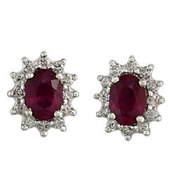 Effy® Ruby Royale Collection Lead Glass Filled Ruby And Diamond Earrings In 14K White Gold