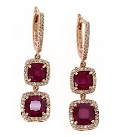 Effy® Ruby Royale Collection Lead Glass Filled Ruby And 0.52 Ct. T.W. Diamond Earrings In 14K Rose Gold