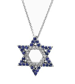 Effy® Royale Bleu Collection Sapphire And 0.18 Ct. T.W. Diamond Pendant In 14K White Gold