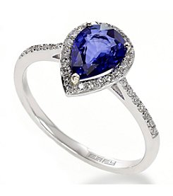 Effy® Royale Bleu Collection Ceylon Sapphire And 0.15 Ct. T.W. Diamond Ring In 14K White Gold