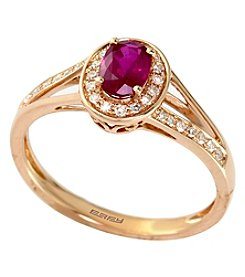 Effy® Ruby Royale Collection Lead Glass Filled Ruby And 0.13 Ct. T.W. Diamond Ring In 14k Rose Gold