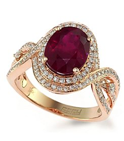Effy® Ruby Royale Collection Lead Glass Filled Ruby And 0.51 Ct. T.W. Diamond Ring In 14k Rose Gold