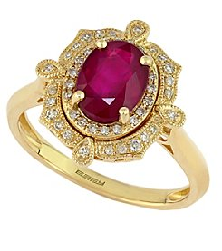Effy® Ruby Royale Collection Lead Glass Filled Ruby And 0.15 Ct. T.W. Diamond Ring In 14K Yellow Gold