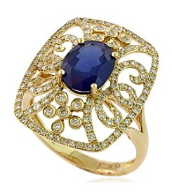 Effy® Sapphire And 0.52 Ct. T.W. Diamond Ring In 14k Yellow Gold