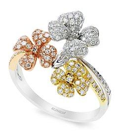 Effy® Trio Collection 0.52 Ct. T.W. Diamond Ring In 14K Tri Color Gold