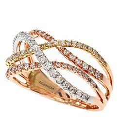 Effy® Trio Collection 0.58 Ct. T.W. Diamond Ring In 14k Tri Color Gold