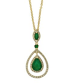 Effy® Brasilica Collection Emerald And 0.27 Ct. T.W, Diamond Pendant In 14K Yellow Gold