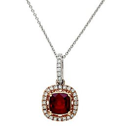 Effy® Ruby Royale Lead Glass Filled Ruby And 0.23 Ct. T.W. Diamond Pendant In 14K Two Tone Gold