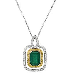 Effy® Brasilica Collection Emerald And 0.24 Ct. T.W. Diamond Pendant In 14k White Gold