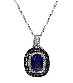 Effy® Royale Bleu Collection Ceylon Sapphire And 0.37 Ct. T.W. Diamond Pendant In 14K White Gold