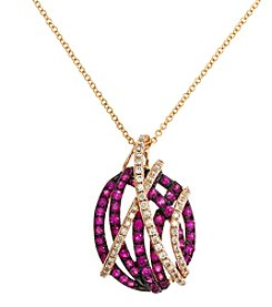 Effy® Amore Collection 0.21 Ct. T.W. Diamond And Ruby Pendant In 14K Rose Gold