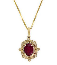 Effy® Ruby Royale Collection Lead Glass Filled Ruby And 0.15 Ct. T.W. Diamond Pendant In 14K Yellow Gold