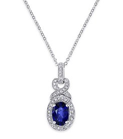 Effy® Royale Bleu Collection Sapphire And 0.16 Ct. T.W. Diamond Pendant In 14K White Gold