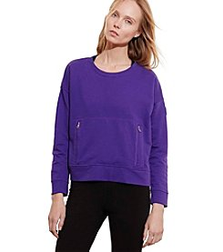 Lauren Active® Zip-Pocket Crew Neck Sweatshirt