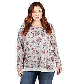 Lucky Brand® Plus Size Floral Print Pullover Sweater