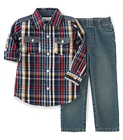 Kids Headquarters® Boys' 2T-4T 2-Piece Plaid Shirt and Jeans Set