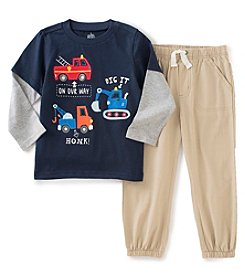 Kids Headquarters® Boys' 2T-4T 2-Piece Layered Trucks Tee And Joggers Set