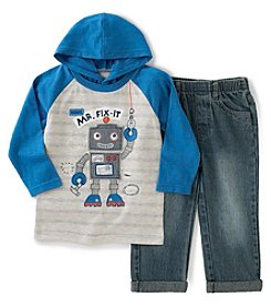 Kids Headquarters® Boys' 2T-4T 2-Pc. Hooded Robot Tee and Jeans Set