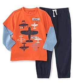Kids Headquarters® Boys' 2T-7 2-Piece Layered Airplanes Tee And Joggers Set