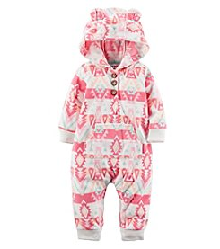 Carter's® Baby Girls' Geo Hooded Fleece Jumpsuit