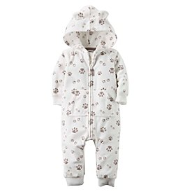 Carter's® Baby Boys Paw Print Hooded Fleece Jumpsuit