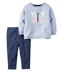 Carter's® Baby Girls' 2-Piece Butterfly Sweater And Leggings Set