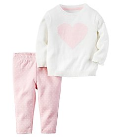 Carter's® Baby Girls' 2-Piece Heart Sweater And Leggings Set