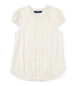 Polo Ralph Lauren® Girls' 7-16 Short Sleeve Pleated Top