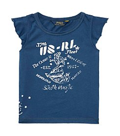 Polo Ralph Lauren® Girls' 2T-6X Flutter Sleeve Nautical Graphic Tee